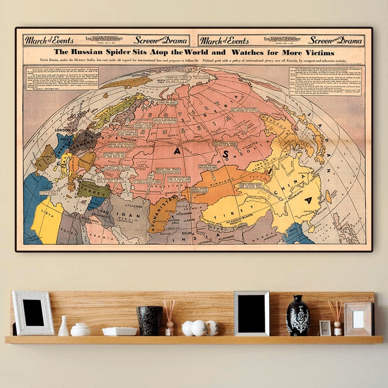 Soviet Russia Map 1940 Cold War Poster Union Of Soviet Etsy