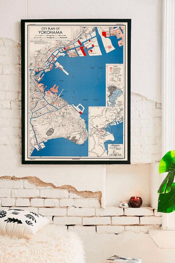 Yokohama Map Print 1944 Map Of Yokohama Japan Kanagawa Japanese Map Japanese Japan T