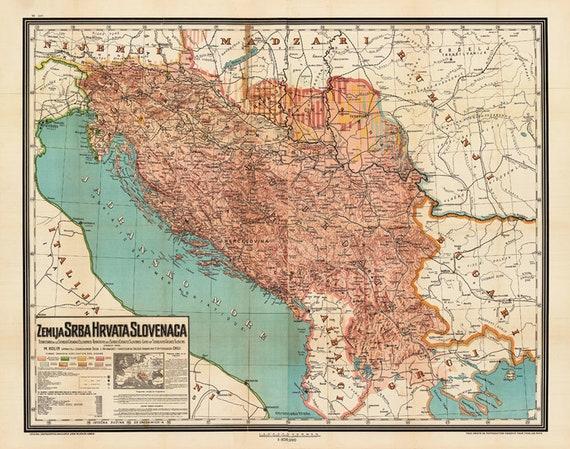 Alte Jugoslawien Karte.Jugoslawien Karte 1917 Ethnographischen Karte Yugoslavia Yugoslavia Poster Grossformat Kunstdruck
