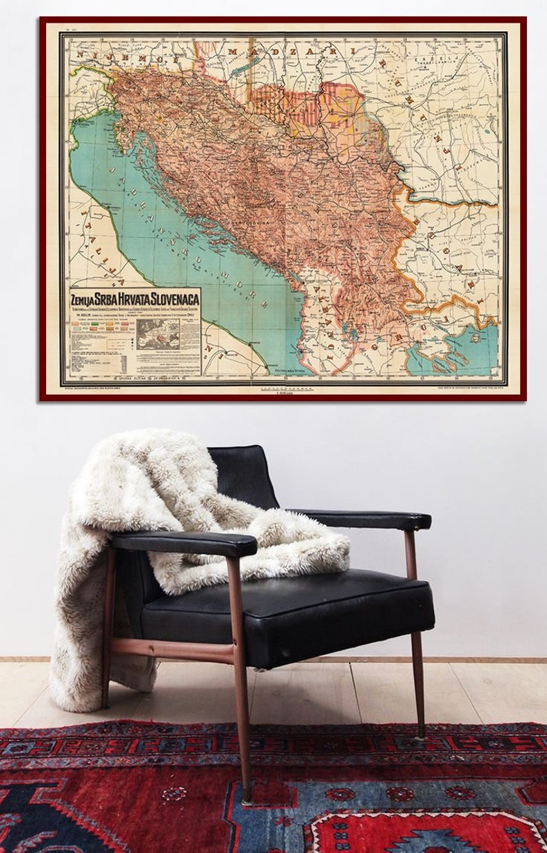 Karta Yugoslavia.Yugoslavia Map 1917 Ethnographic Map Of Etsy