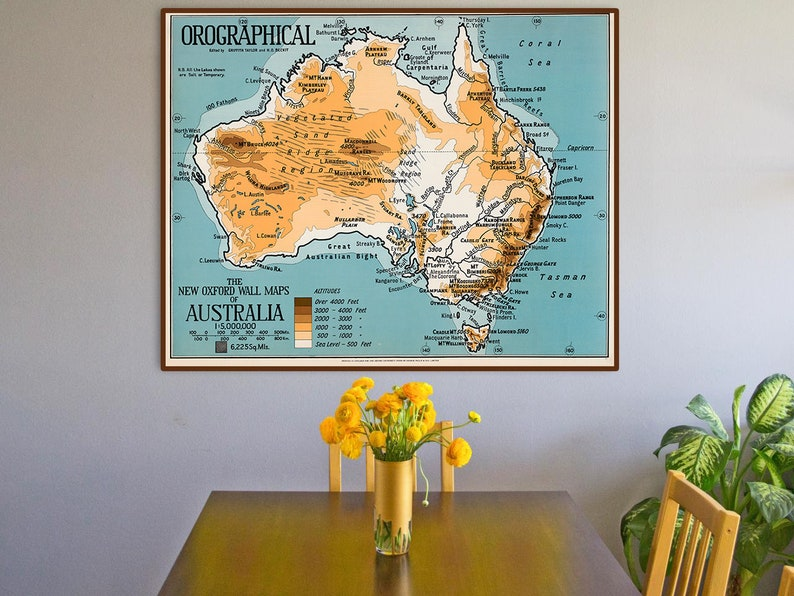 Australia Wall Map.Australia Map The New Oxford Wall Map Of Australia 1929 Orographical Vintage Map Of Australia Australia Art Print
