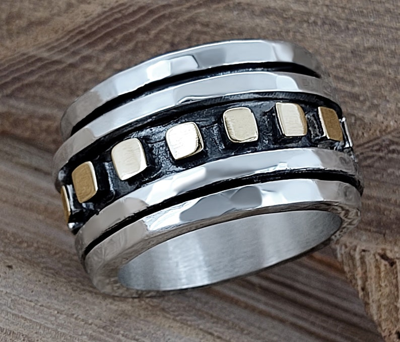 Wide Band Ring Unique Wedding Bands Chunky Silver Ring Boho Silver Ring Square Ring Fidget Ring Meditation Rings Silver Spinner Ring
