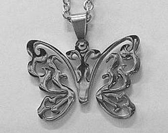 """Butterfly in Stainless Steel with 24"""" Stainless Steel Chain"""