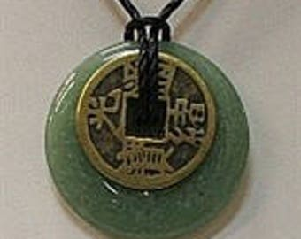 Aventurine Donut with I-Ching Coin