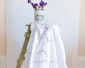 White Linen Cutwork Table...