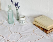 White Linen Cutwork Table...