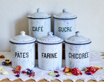 Set of 5 French Vintage Canisters, Vintage Canister Set, Vintage Enamelware, Blue and White Enamel, Enamel Containers, Vintage Enamel
