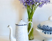 Vintage White Enamel Coffee Pot, French Vintage, French Enamelware, French Coffee Pot, Enamel Coffee Pot, Drip glaze, Marble glaze