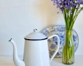 Vintage White Enamel Coffee Pot, French Vintage, French Enamelware, French Coffee Pot, Enamel Coffee Pot