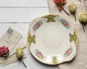 Vintage Floral Plate Washington Pottery Hanley, Sandwich Plate, Roses, Gold, Vintage Wedding,Vintage china, Floral China, English China