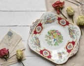 Floral Plate,  Foley Pottery, Vintage Wedding Prop, Roses, Gold, Vintage Wedding,Vintage china, Floral China, English China
