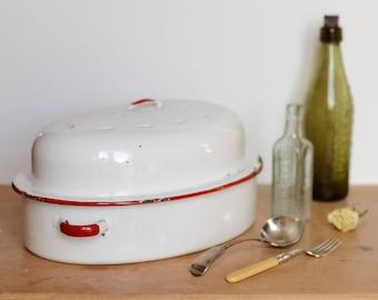 Vintage Enamel Dish, White Enamel Dish, Casserole Dish, Casserole Pot, Roasting Pot, Enamel Tin, English enamel, Pie dish, 1950s