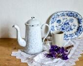 Vintage White Enamel Coff...
