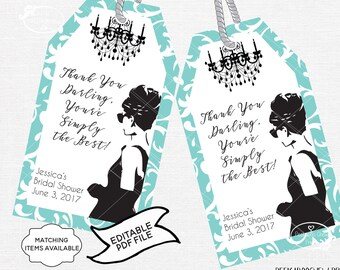 Breakfast at Tiffany's Party Favor Thank You Tags EDITABLE Audrey Hepburn Digital Printable Baby Bridal Shower Bachelorette Birthday PCBTPS