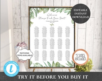 Wedding Seating Chart Table Assignment Poster Reception Dinner Table Name Board Find Your Seat Plan DIY Template Rustic Leaf Laurel PCROEWS