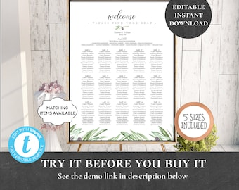 Wedding Seating Chart Table Assignment Poster Reception Dinner Table Name Board Find Your Seat Plan DIY Template Olive Mediterranean PCOLWS