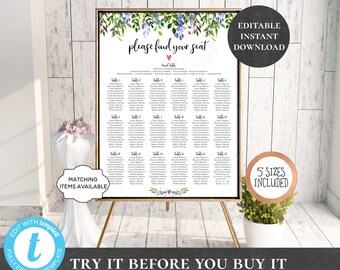 Wedding Seating Chart Table Assignment Poster Reception Dinner Table Name Board Find Your Seat Plan DIY Template Purple Lilac Garden PCPGWS