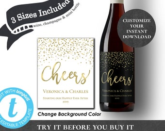 Cheers EDITABLE PRINTABLE Wine Label Champagne Mini Bottle Favor New Years Eve Engagement Wedding Black Navy White with Gold Confetti PCGCWS