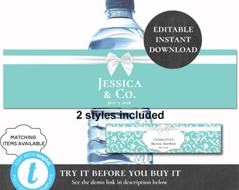f3008d9a5f Breakfast at Tiffany's Themed Water Bottle Labels Editable Printable Bridal  Shower Baby Bride & Co Welcome Basket Waterbottle Sticker PCBTPS