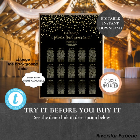 Wedding Seating Chart Table Assignment Poster Reception Dinner