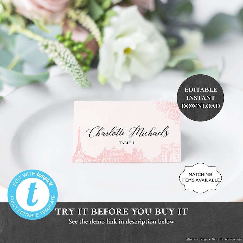 Paris Place Card EDITABLE PRINTABLE Dinner Food Label Pink Eiffel Rose Placecard Table Seat Brunch Breakfast Lunch Buffet Shower PCPFIS