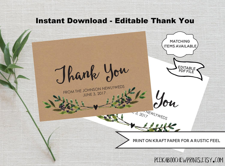 Wedding Gift Thank You Card Template: Wedding Thank You Card Template EDITABLE Printable
