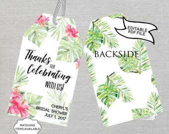 Tropical Party Favor Thank You Tags EDITABLE Palm Hibiscus Pink Printable Pool Party Baby Bridal Shower Bachelorette Birthday PCTGWS PCFPS