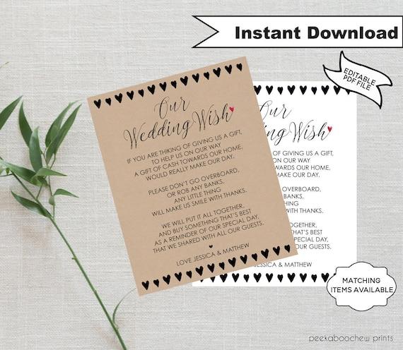 Wedding Gift Poems For Money For Honeymoon: Wedding Wish Honeymoon Wish Poem Template Wedding Money