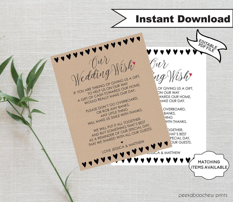 Wedding Gift Poems Honeymoon: Wedding Wish Honeymoon Wish Poem Template Wedding Money