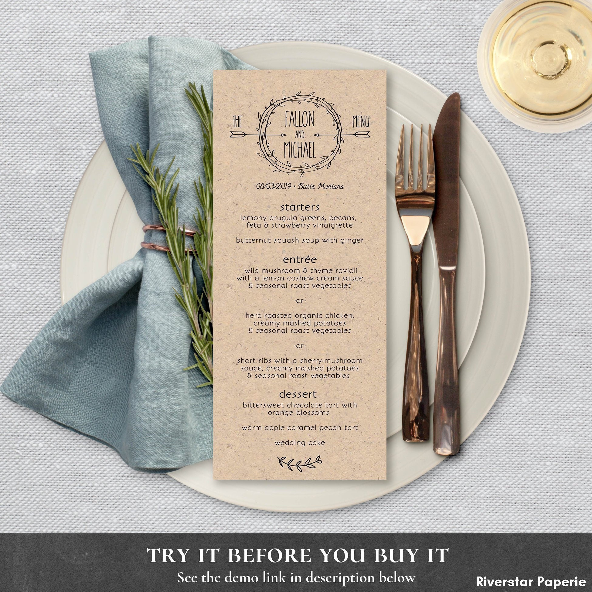 Rustic Wedding Dinner Menu Supper Luncheon Food List