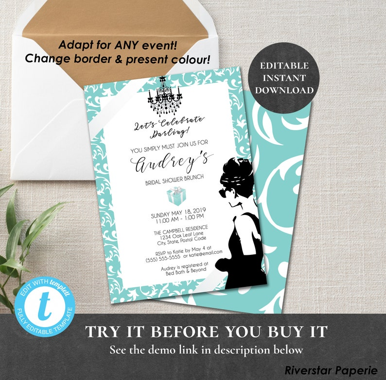 f63be2089a Breakfast at Tiffany's Invitation Printable Editable | Etsy