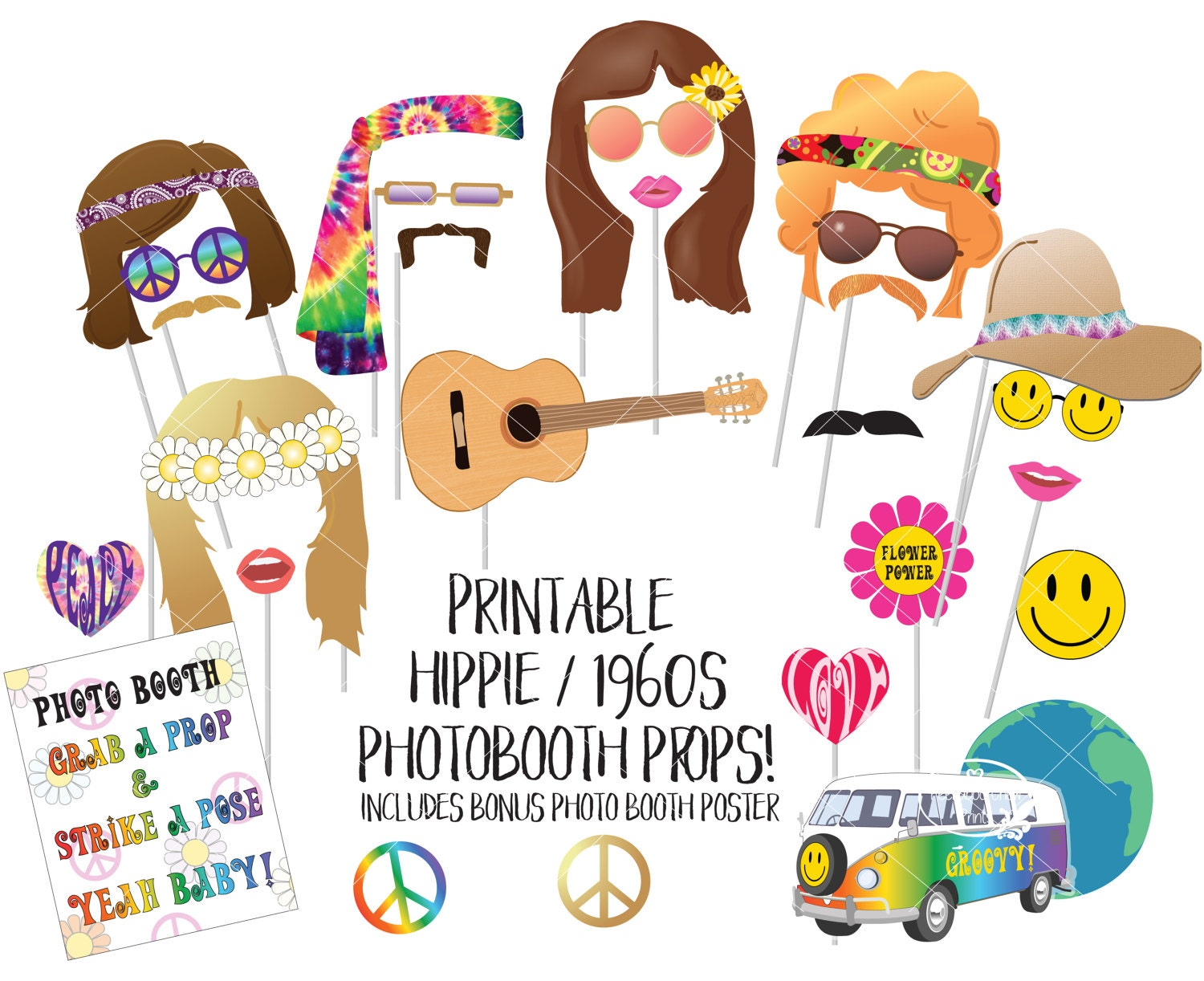 Hippie 1960s Photo Booth Props Sixties Printable Photobooth Etsy