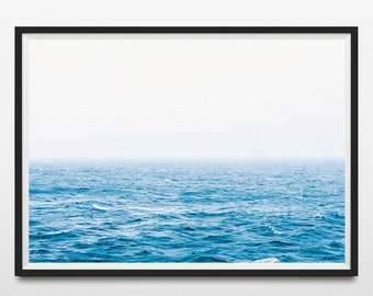 Ocean wall art, Waves, Coastal wall decor, Blue Ocean, Water, Sea print, Large poster print, Beach art, Digital Download