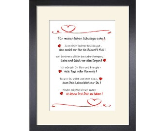For my dear son-in-law - gift, customizable art print 24 x 30 cm with passepartout and with or without frame