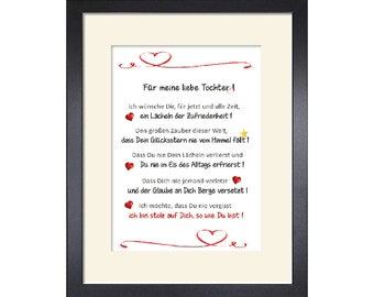 Best Daughter, Dear Daughter, Gift Art Print by Mama Papa Parents Customizable with Passepartout with or without Picture Frame
