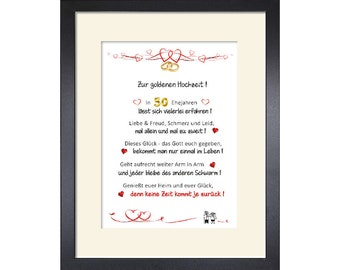 Gift for the golden wedding - lovingly designed, customizable congratulations - 24 x 30 cm with passe-partout and with or without frame