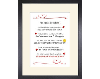 Best Son, Dear Son, Gift Art Print by Mama Papa Parents Customizable with Passepartout and with or without Picture Frame