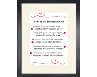 For my dear daughter-in-law, gift, customizable art print 24 x 30 cm with passepartout and with or without frame