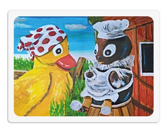 Placemat - Placemat - Placemat for children wipeable 30 x 40 cm, Pitti and Schnatterinchen, dining pad Painting pad Kneading pad