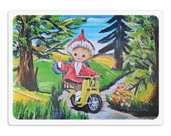 Placemat - placemat - placemat for children wipeable 30 x 40 cm, sandman on moped, dining pad painting pad kneading pad