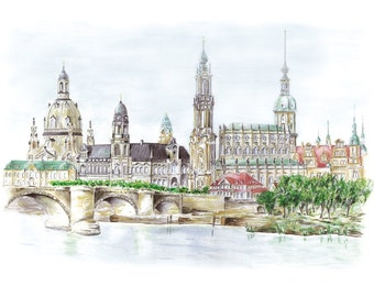 Canalettoblick Dresden - color - original signed art print