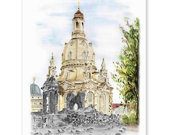 DresdenEr Frauenkirche - old/new - original signed art print after a hand-painted acrylic painting by Michael Richter - Dresden