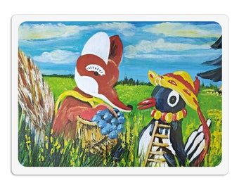 Placemat - placemat - placemat for children wipeable 30 x 40 cm, Mr. Fuchs & Mrs. Elster, dining pad painting pad kneading pad