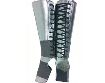 2ba2a4545 Isabella Mars SILVER Metallic AERIAL BOOTS full length standard sizes  Leather & Suede, Trapeze gaiters Lyra, Trapeze, Aerial hoop, rope