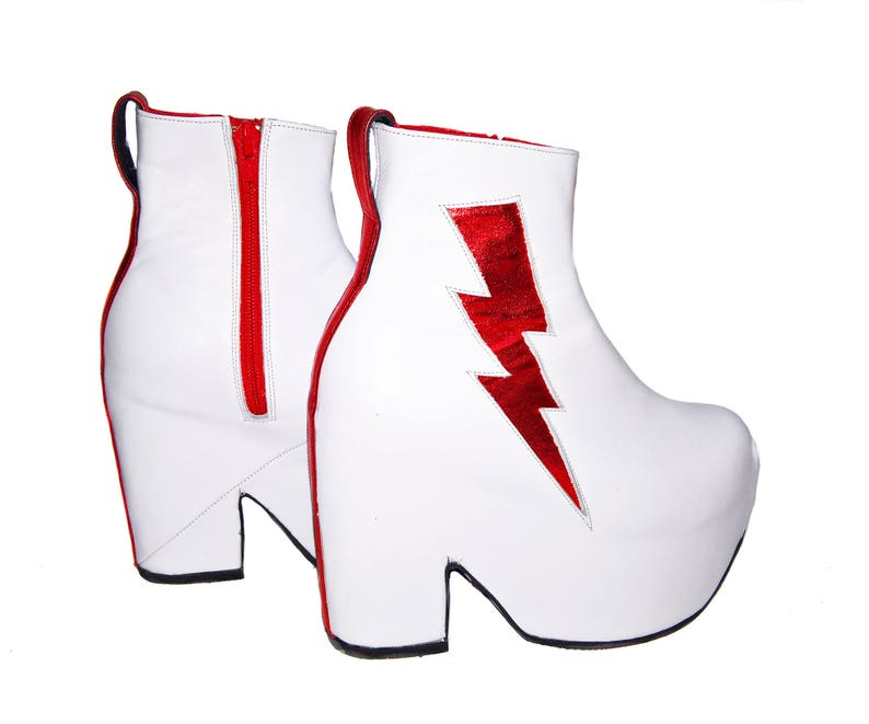 554cd9ade5f8 ZIGGY Platform Boots Isabella Mars White leather with Red