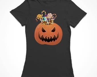Halloween Classic Scary Candy Pumpkin Women's Black T-shirt