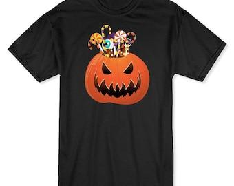Halloween Classic Scary Candy Pumpkin Men's Black T-shirt