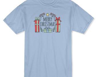 Merry Christmas Presents Laurel Leaves  Men's Light Blue T-shirt