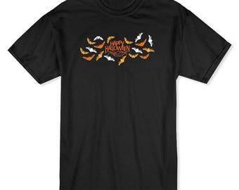 Happy Halloween Scary Bats Men's Black T-shirt
