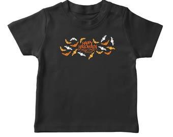 Happy Halloween Scary Bats Boy's Black T-shirt